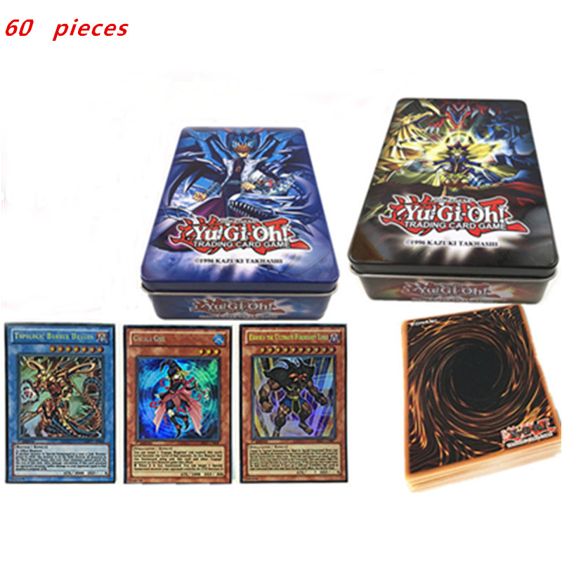 60pcs Different Yugioh Paper Cards With Iron Box Yu Gi Oh Anime Game Collection Cards Kids Boys Toys Gift