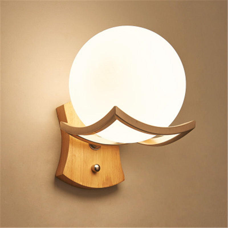 Modern Simple Wood Wall Lamp Milky Glass Sphere Wall Lights for Home Indoor Living Room Decoration Bedroom Bedside Lamp Wall Art