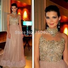 Hot sale Chiffon Beading Cap sleeve A-Line Vestidos de fiesta Long Evening dress 2015