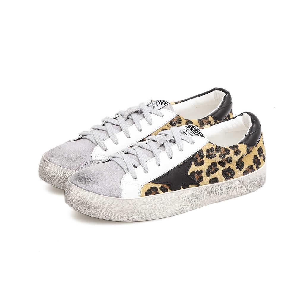 c203ca8fb364 TOP Brand Women Sneakers Leather Leopard Print Retro Golden Flat Shoes  Cowhide Do Old Dirty Shoes