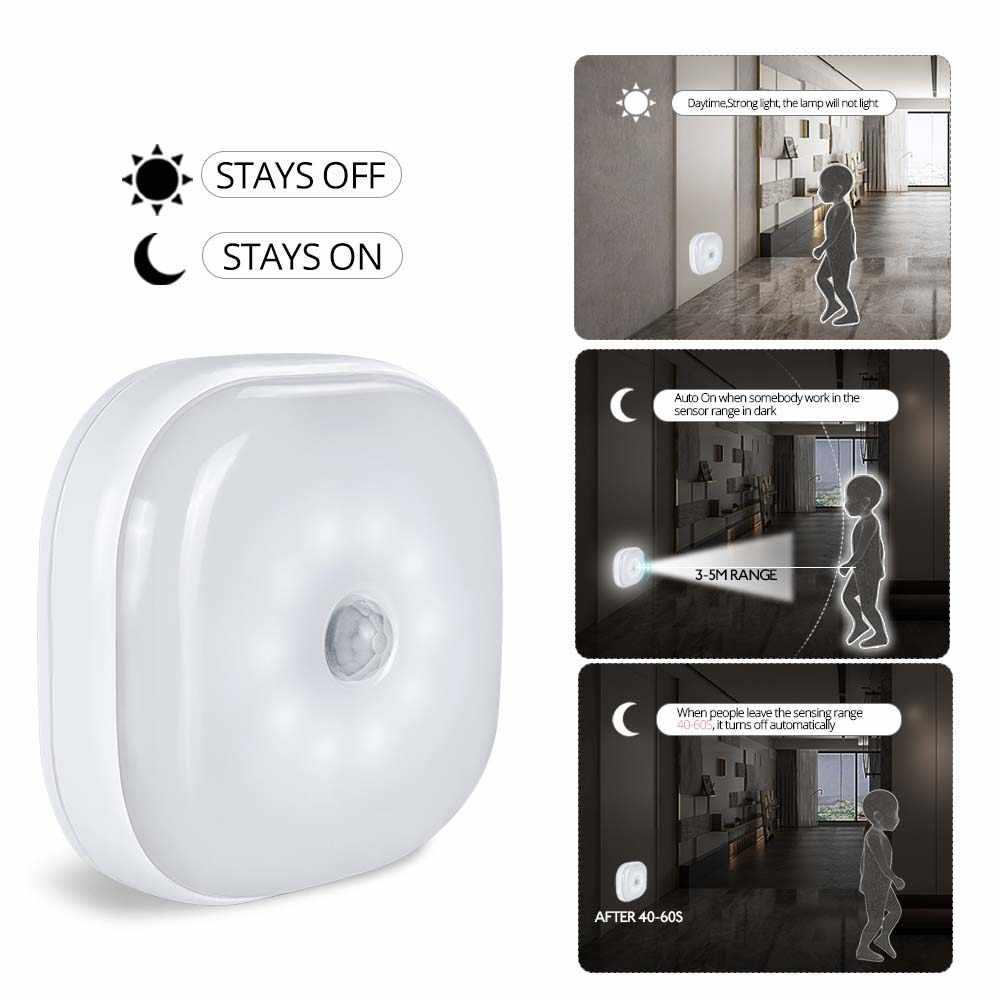 Светодиодный светильник с датчиком движения, ночной Светильник для шкафа, кухонный светильник, магнитная Беспроводная лестничная лампа для детей с питанием от батареи