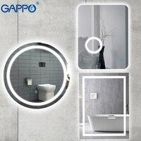 Gappo для ванной Лупа зеркала Led 600*800 косметическое зеркало сенсорный выключатель света регулируемый настенный светильник Зеркало для ванной