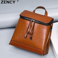 ZENCY Summer Genuine Oil Wax Cow Leather Women Ladies Backpack Cowhide Designer Korean Style Fashion Ladies Girl Bag Mochila