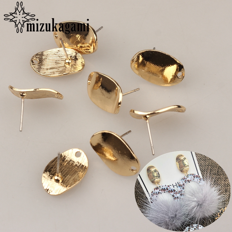 11*17mm 10pcs/lot Zinc Alloy Retro Golden Distorted Oval Exaggerated Earring Base Earring Connector For DIY Earrings Accessories
