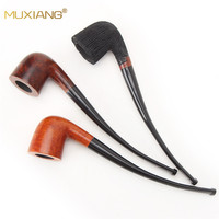 MUXIANG Long Stem Briar Wood Handmade Smoking Pipe for Weed Fit for 3mm Filter Bent wooden Tobacco Pipe aa0334