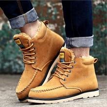 2016 nouvelles bottes d'hiver chaudes, Noir homme décontracté bottes de travail mode ajouter laine chaussures hommes bottes de neige