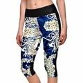 2015 Brand Leggings Short Floral Digital Printing Slim Jeggings Women Fashion Fitness Pants Legging