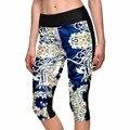 2015 Marca Leggings Short Floral Impresión Digital Delgado Jeggings de Las Mujeres de Moda de La Aptitud Legging