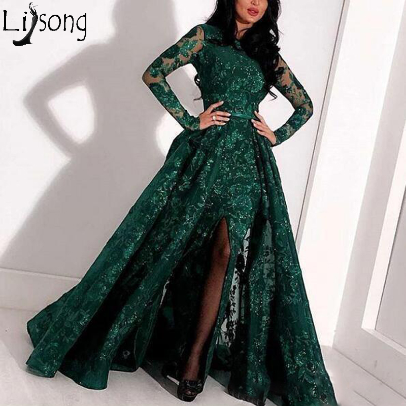 Long Sleeve Mermaid 2019 Prom Dresses With Detachable Skirt Full Lace Applique Front Split Evening Gowns Sequined Formal Dress