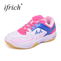 Ifrich New Cool Leather Badminton Sneakers Brand Lace Up Sport Shoes Kids Green Pink Sport Child Cheap