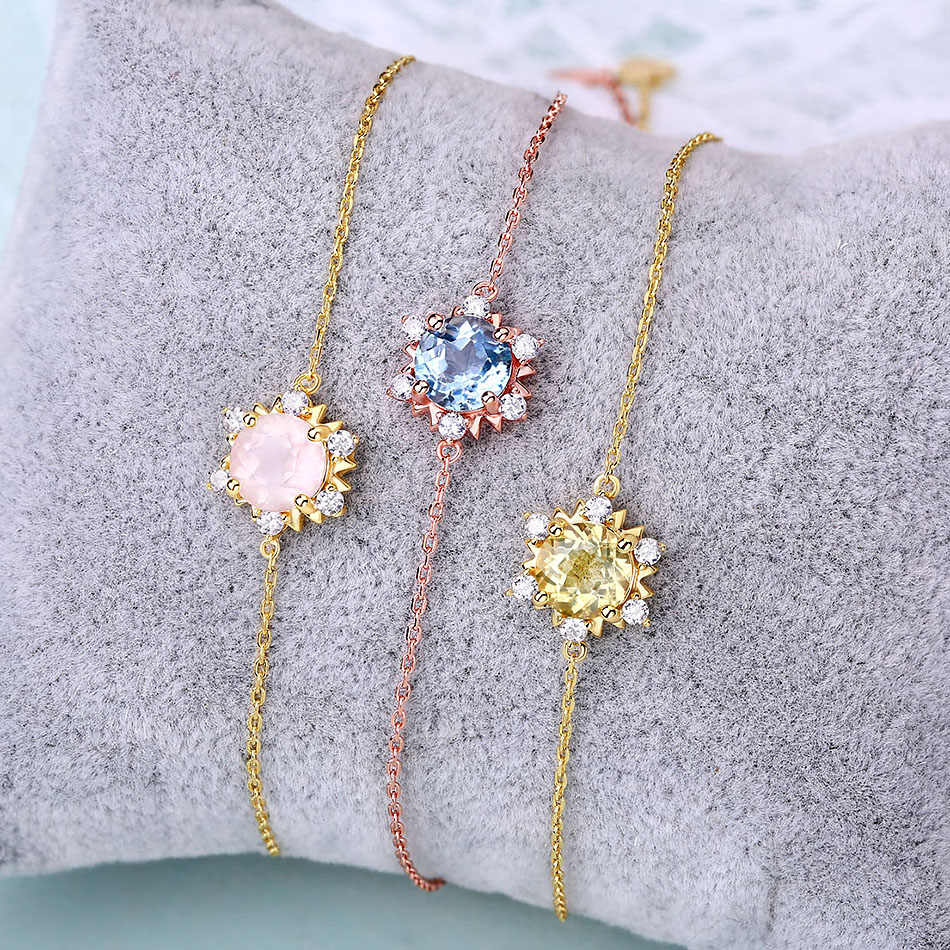 ALLNOEL Gemstone Bracelet For Women 100% Natural Rose Gold Citrine Topaz Sun Flower Gorgeous Silver 925 Sterling Wedding Jewelry