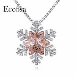 ECCOSA Delicate Snowflake Necklaces & Pendants Sterling 925 Silevr Necklace Woman Party Jewelry Original Crystal From Swarovski