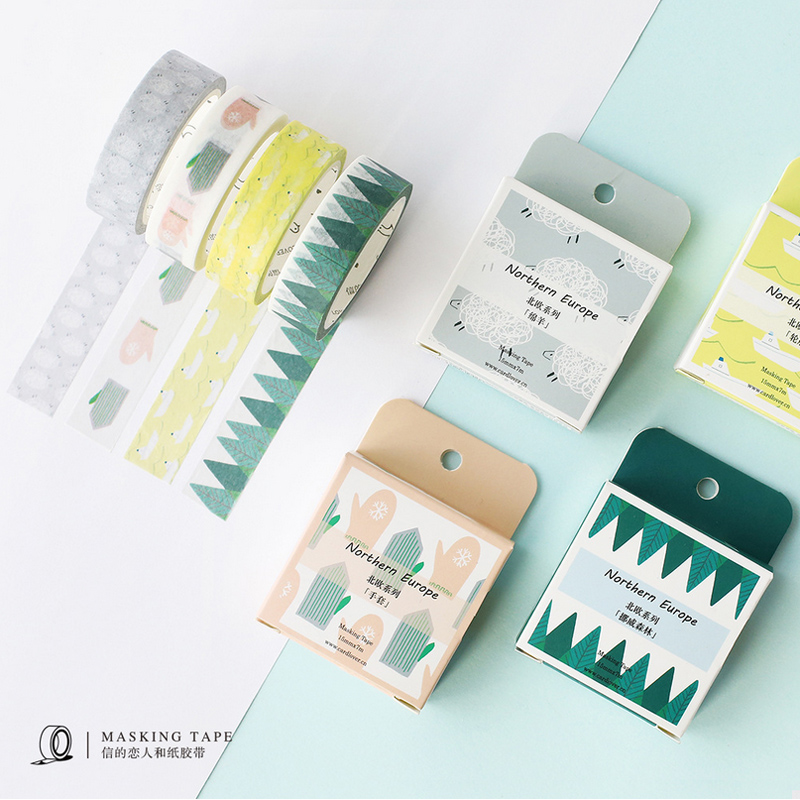 1.5cm*7m Nothern Europe washi tape DIY decorative scrapbook planner masking tape adhesive tape stationery school supplies 3cm 7m raining butterfly washi tape diy decorative scrapbook planner masking tape office adhesive tape stationery