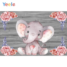 Yeele Pink Elephant Flowers Wooden Board Wall Scene Baby Children Photography Backgrounds Photographic Backdrop For Photo Studio