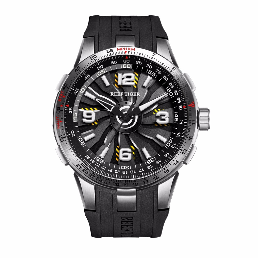 New Reef Tiger/RT Military Watches for Men Steel Automatic Watches Rubber Strap Whirling Dial Sport Watch RGA3059 yn e3 rt ttl radio trigger speedlite transmitter as st e3 rt for canon 600ex rt new arrival