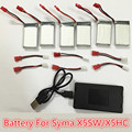 Syma x5hc x5hw battery 3.7V extra Battery Spare with upgrade 6in1 charger cable for syma x5hw x5hc rc drone Quadcopter Parts Set