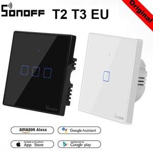 Беспроводной смарт-светильник Sonoff T2 T3EU, панель переключателя WiFi RF433Mhz/приложение/сенсорное управление, 1, 2, 3 банды, настенное стекло Alexa EWelink