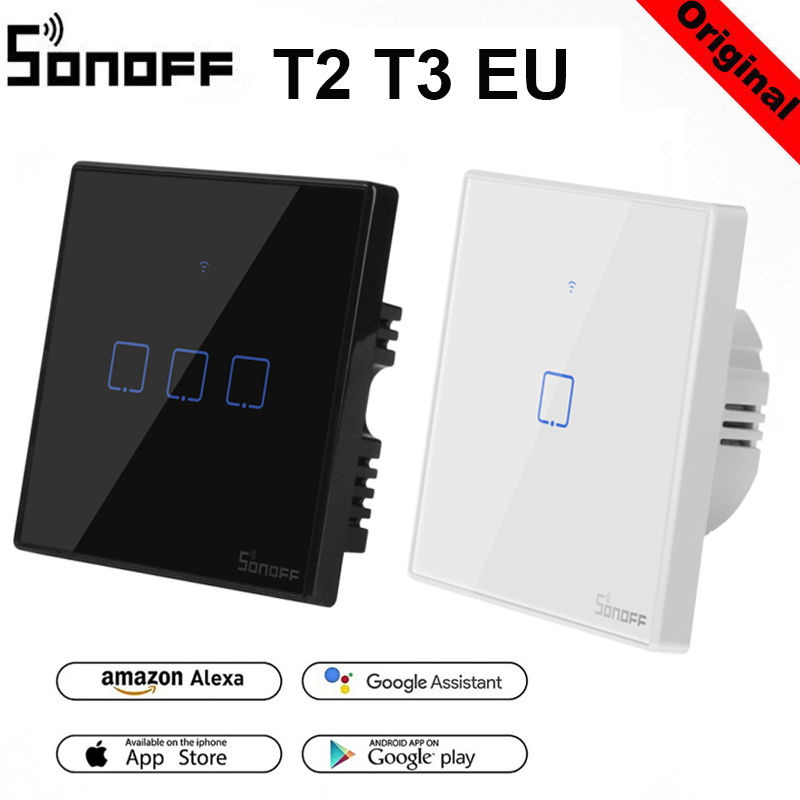 Sonoff T2 T3EU Panel WiFi RF433Mhz/ APP / Touch Control Wireless Smart Light Switch 1 2 3 Gang Wall Glass Alexa EWelink Control
