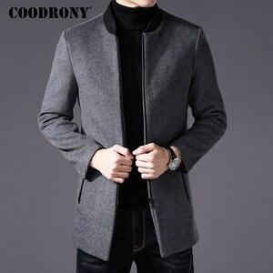 Image 2 - COODRONY Men Coat Winter Thick Warm Wool Coat Men Clothes 2019 Slim Fit Coat Mandarin Collar Jacket Mens Overcoat Mens Coats C03