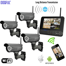 7 inch Wireless Monitor Home Security Camera Alarm System Recording 4CH Digital CCTV DVR Surveillance IP Remote Via Smart Phone