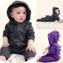f65d31acb94 (Ship from US) New Trendy Baby Girl Boy Romper Clothes Dinosaur Hoodie Warm  Long Sleeve with Zip Hooded Newborn Jumpsuit Baby Romper Set