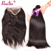 360 Lace Frontal With Bundles Brazilian Straight Hair Human Hair 2 Bundles With Frontal Closure Pre Plucked Non Remy RUIYU Hair