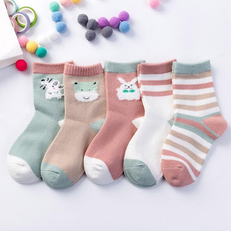 Kids Baby Winter Socks 5 Pairs/lot 2019 Children Cute Cartoon Socks For Girls & Boys Toddler Thick Warm Socks 1-10 Years
