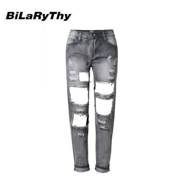 BiLaRyThy Moda Mujeres Destroyed Ripped Apenada Denim Slim Pantalones Boyfriend Jeans Pantalones