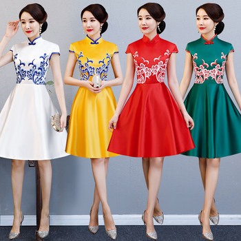Classic Handmade Button Qipao Elegant Slim Short Women Cheongsam Chinese Style Summer Female Casual Daily Dress Lerge Size XXXL