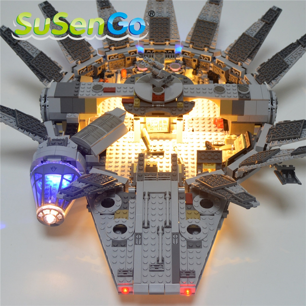 SuSenGo Led Light Blocks Up Kit For Star Wars Lepin 05007 Millennium Falcon Building Blocks Marvel Model Compatible With 75105 new 5265pcs star wars ultimate collector s millennium falcon model building kits blocks bricks kids toys compatible with 10179