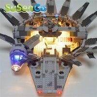SuSenGo Light Blocks Up Kit For Star Wars 05007 Millennium Falcon Figure Building Blocks Marvel Model