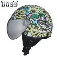 High Quality VOSS Leather Vintage Motorcycle Helmet Retro Harley Motorcycle Helmet Open Silver Helmet Sun Shield