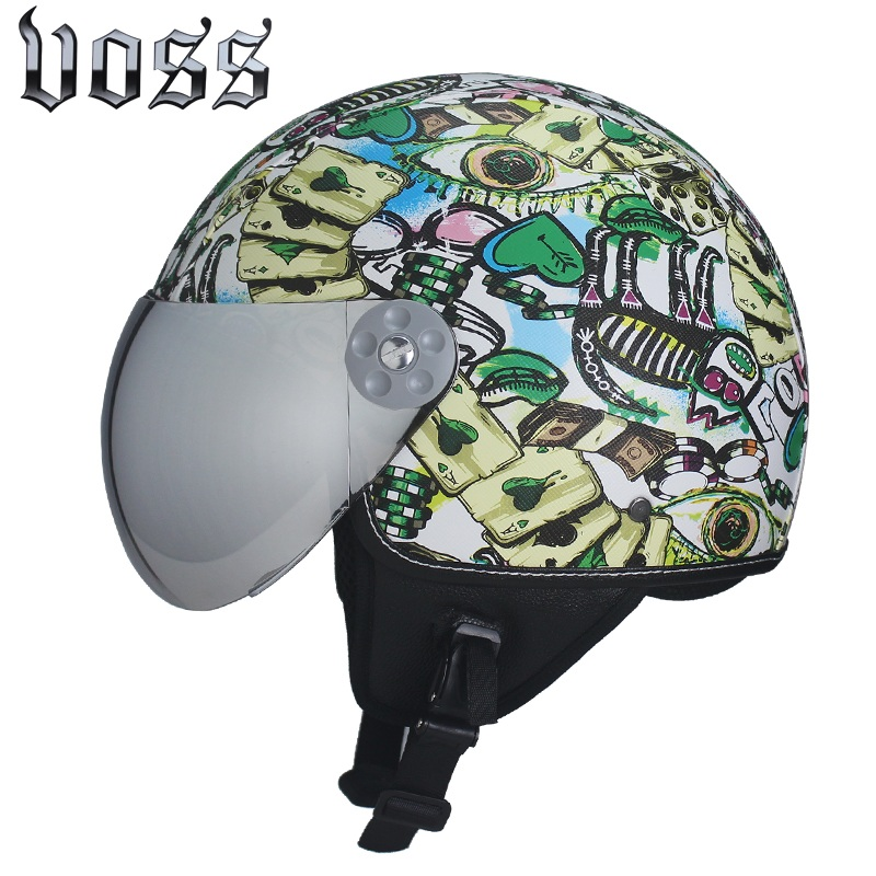 High Quality VOSS Leather Vintage Motorcycle Helmet Retro Harley Motorcycle Helmet Open Silver Helmet Sun Shield