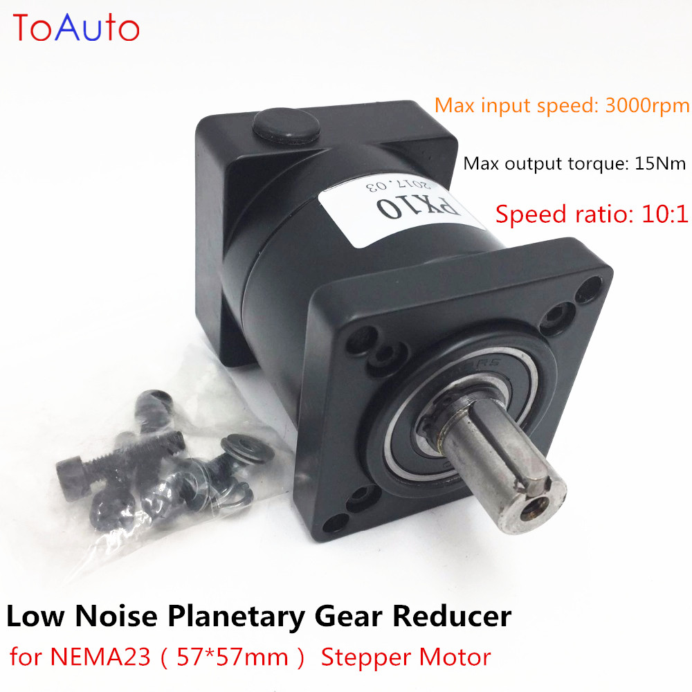 цена на Longevity Low Noise Ratio 10:1 Planetary Gear Reducer for NEMA23 Stepper Motor Gearbox Reducer High Precision Planetary Reducer
