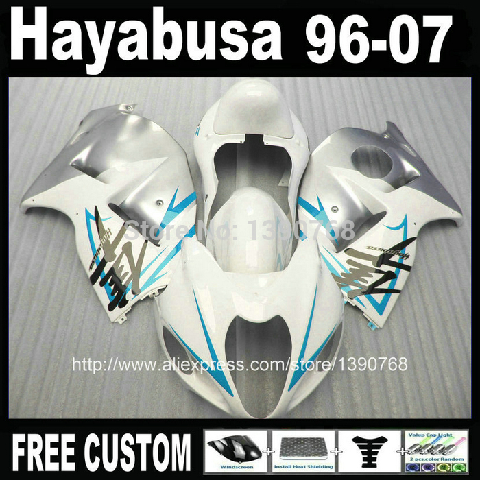 100% new  for SUZUKI Hayabusa fairing kit GSXR1300 1996-2007 silver white fairings set GSX1300R 96-07 FF28 + 7 Gifts