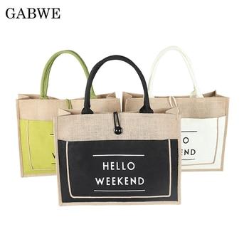 GABWE High Quality Women Linen Luxury Tote Large Capacity Female Casual Shoulder Bag Lady Daily Handbag Fresh Beach Shopping Bag