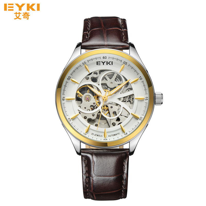 Fashion Men Automatic Mechanical Watches Hollow Dial Luminous Pointer Watch Male Waterproof Leather Band Clock Luxury Wristwatch