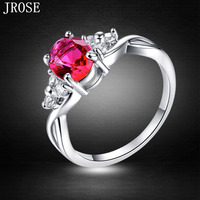 JROSE Engagement New Oval Cut Pink Rainbow White Topaz Emerald Ruby Jewelry 18K White Gold Plated Ring Size 6 7 8 9 10 Free Ship