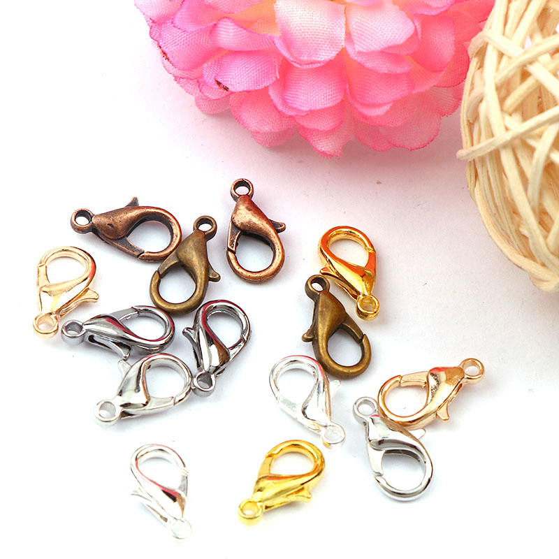 New Mixed Color 7x14mm Gold&Silver&Copper&White K Lobster Clasps Hook Component DIY Jewelry Bracelet Making Accessories