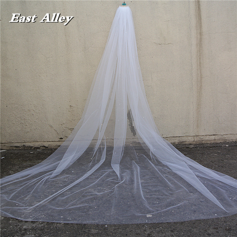 Scattered Crystal Rhinestones Wedding Veil , Cathedral Length 118