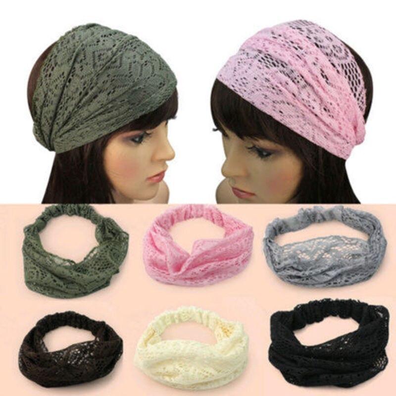 b5515f6753d16f Mode Modelle Frauen Stirnband Mädchen Chic Bandana Turban Elastische Spitze  Haar Kopf Wraps Breite Stirnband Prinzessinnen