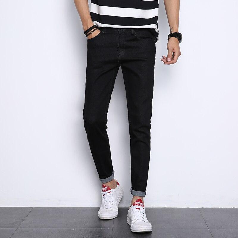 Fashion new mens jeans have stretch jeans Slim comfortable feet pants mens black pants wild jeans