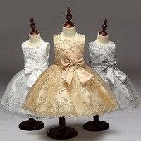 Nowy Letni Kwiat Łuk Girls Dress Wedding Party Złoty Drut Kwiatowe Sukienki Bez Rękawów Księżniczka 2-8 Lat Maluch Kostium Vestido