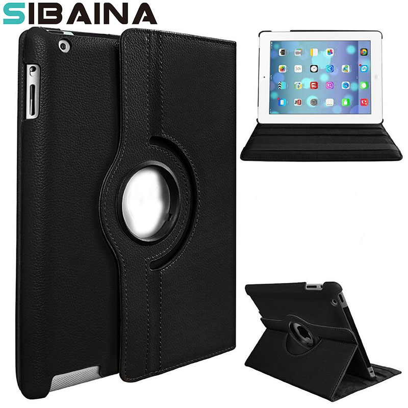 360 Rotation PU Leather Case for Apple iPad 2 3 4 Smart Tablet cover with stand function flip cases Fundas A1395 A1396 A1430 обруч алюминиевый