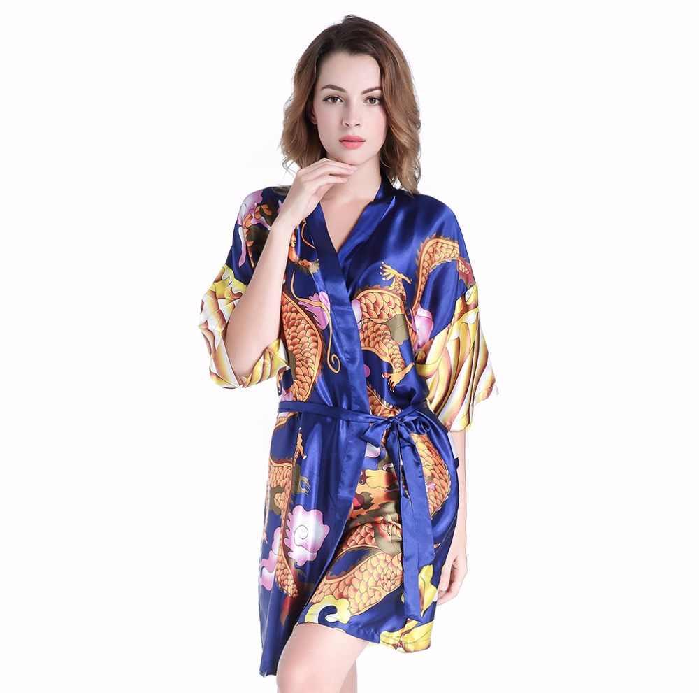 54d97cbfb4 Detail Feedback Questions about Hot Sale Blue Chinese Female Satin Short  Robe Women Summer Casual Sexy Nightwear Vintage Dragon Kimono Sleepwear One  Size ...