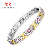 Oktrendy Jewelry Pink Crystal Stone Magnet Health Bracelets for Women DIY Adjustable Length Friendship Gift