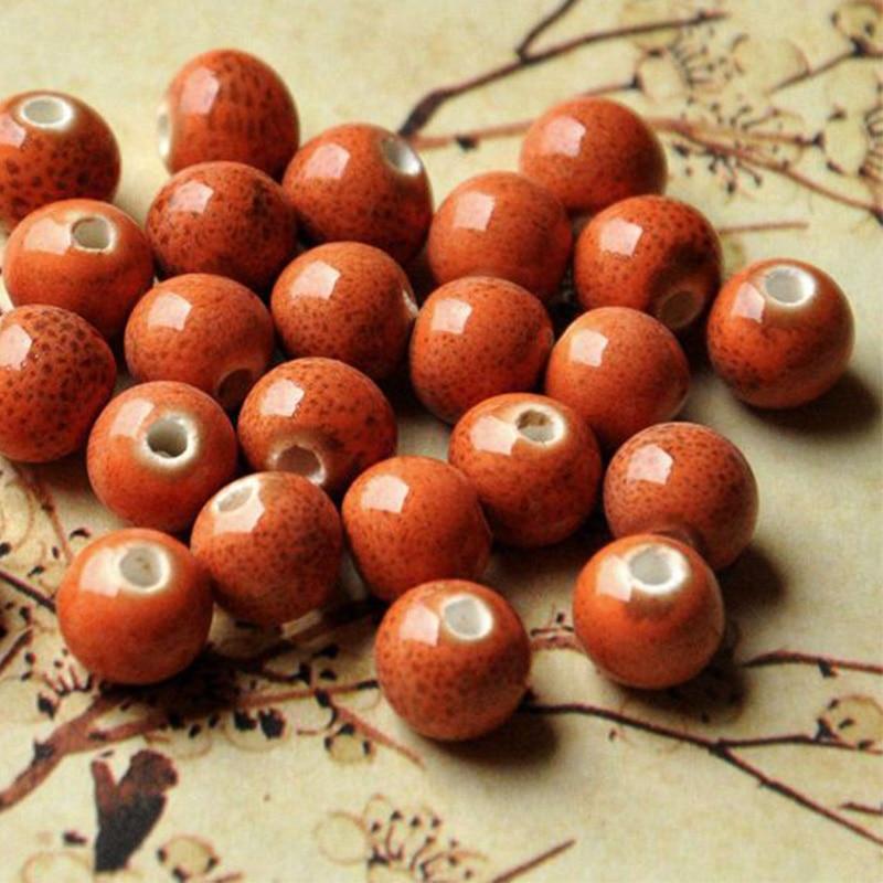 8mm Flower Glaze Round Ceramic Beads Diy Loose Bracelet Bead Handmade Materials Women Men Beaded DIY