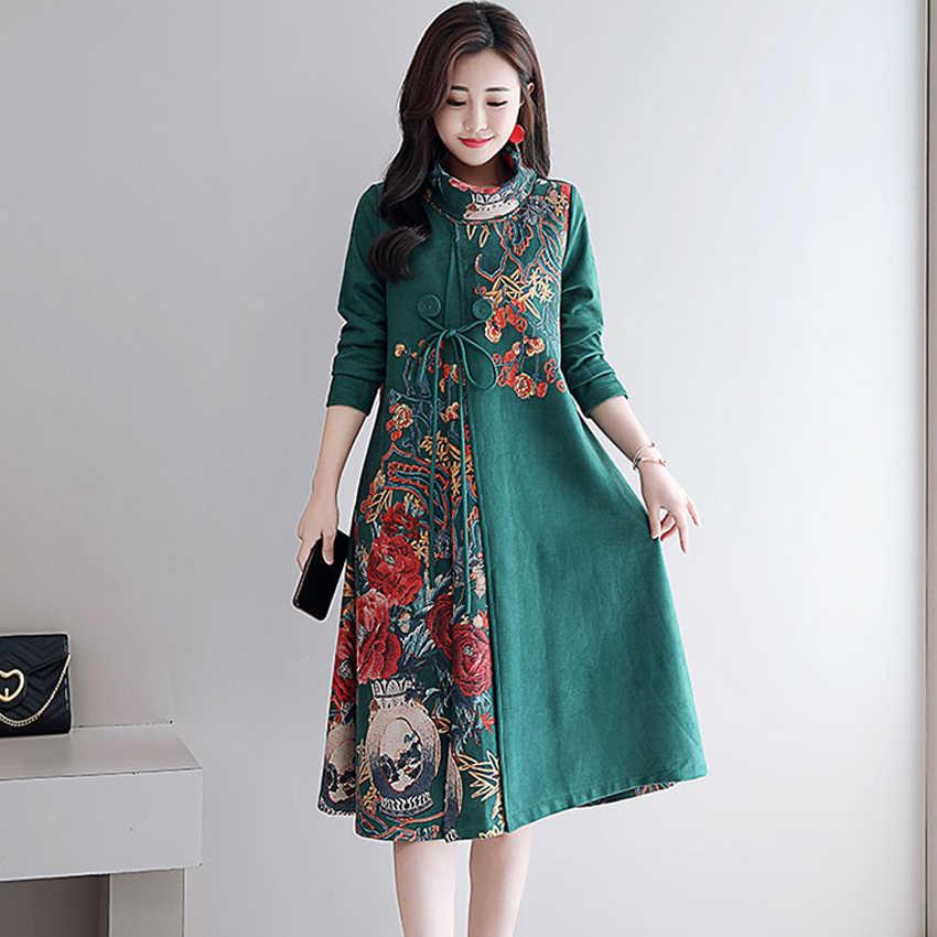 03af0e591b2d973 Зеленое платье миди для женщин трапециевидной формы Винтаж элегантный плюс  размеры большой халат платья для осень