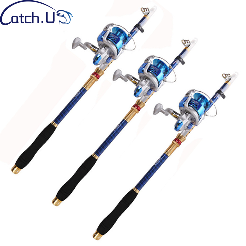 Catch.U Fishing Rods Superhard Telescopic Carp Fishing Rod Set with 8BB Spinning Fishing Reel