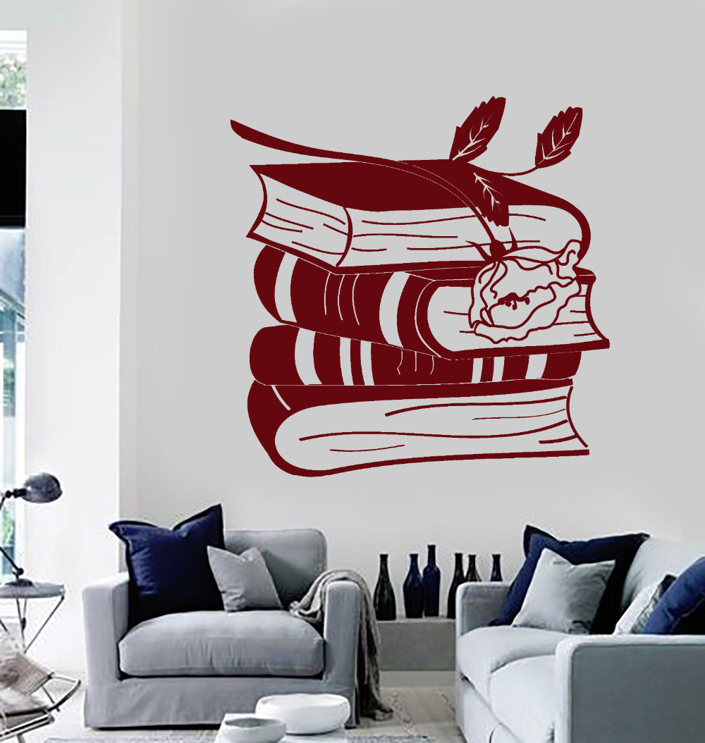 Books Rose Art Sticker Wallpaper Reading Room Removable Decoration Vinyl Bookworm Library Wall Decals 40 Colors Available Zb338 Quality First Wall Stickers